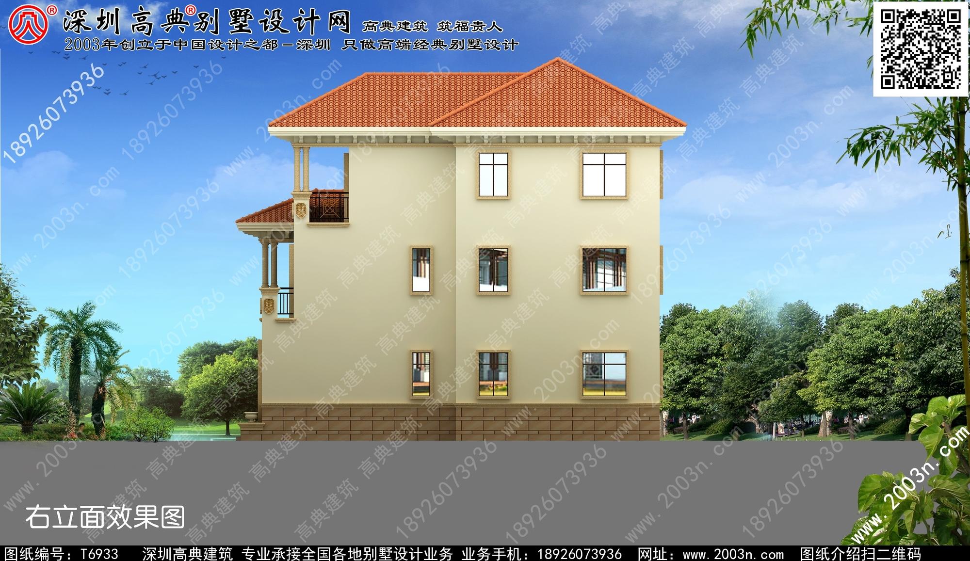 带车库别墅设计效果图三层/作品编号t6933号首层172平米